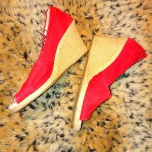 Toms red espadrille wedge peep toe heels